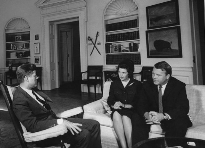 President John Fitzgerald Kennedy with Phil and Joan Hoff in the Oval Office