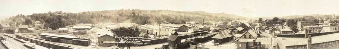 Panoramic view of downtown Barre across Depot Square - 1917