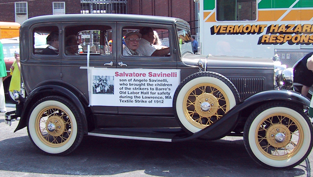 Salvatore Savinelli in an antique car for the Barre Homecoming Festival