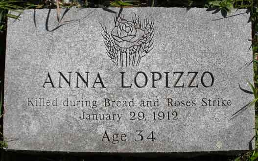 Granite grave marker for Anna Lopizzo decorated with a rose