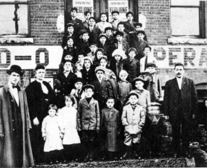 The strikers' children on the steps of the Old Labor Hall