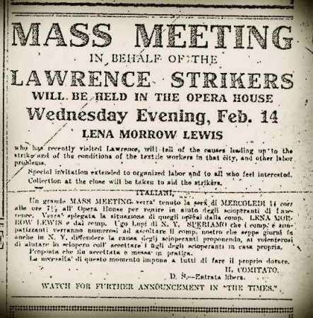 Advertisement forBarre meeting to support strikers