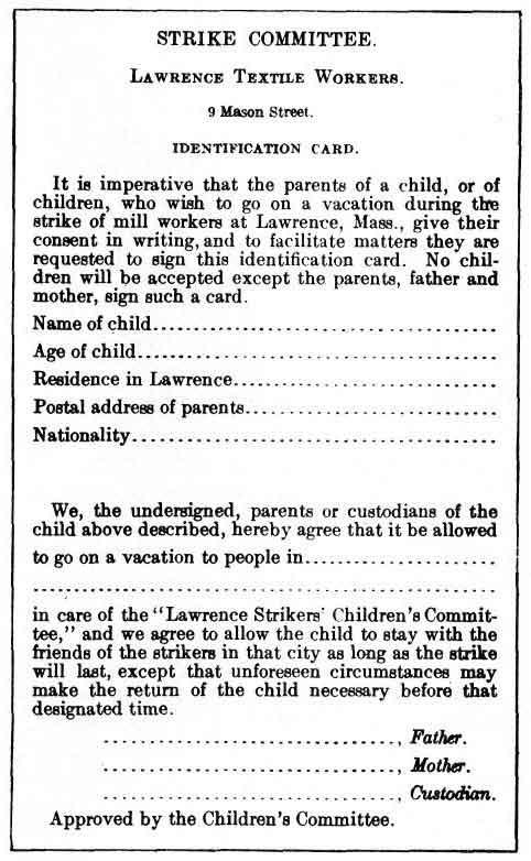 Strikers' children identification and permission card