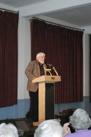 Chet presiding at Old Labor Hall event