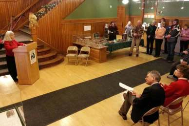Karen Lane, Director of the Aldrich Public Library speaking at the donation of the Barre archives collection to the Vermont Historical Society