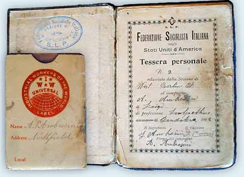 Angelo Ambrosini's membership books for the Federatzione Sociialista Italiana and IWW