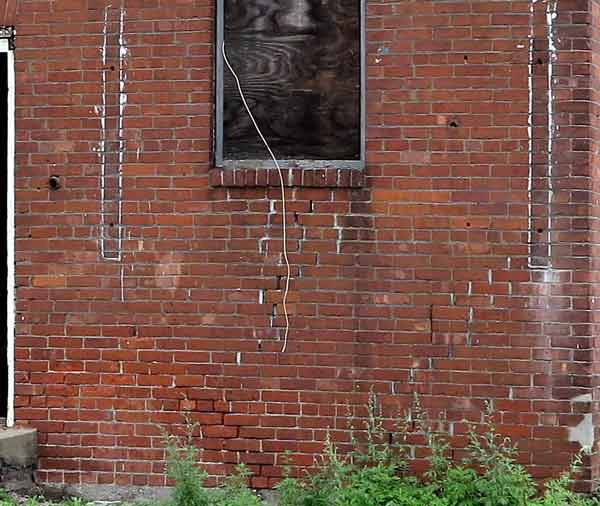 deteriorated brickwork on the Bakery facade