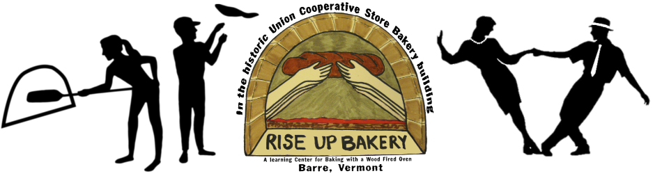 Logo for Make the Dough Rise fundraiser showing silhouette of pizza makers and swing dancers