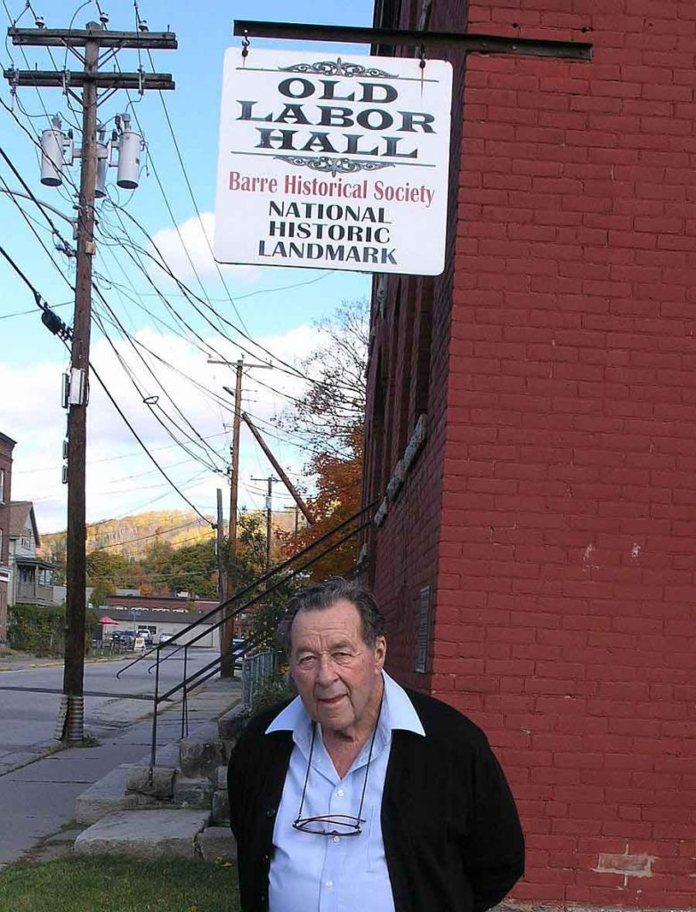 Tom Davis in front of the Old Labor Hall (photo Mark Greenberg)