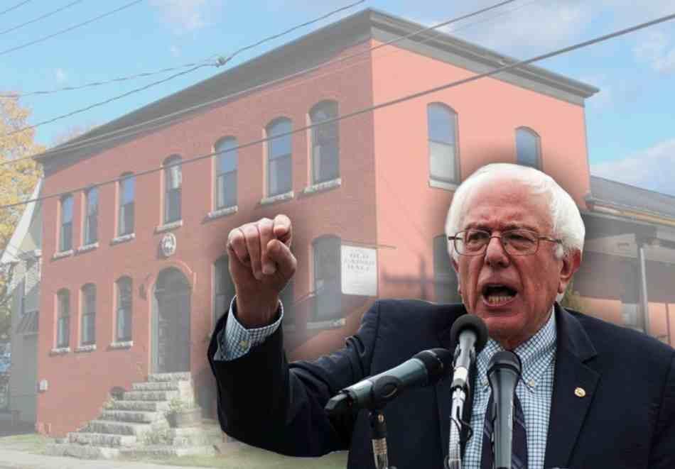Senator Bernie Sanders superimposed on picture of Old Labor Hall