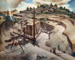 WPA painting of a granite quarry