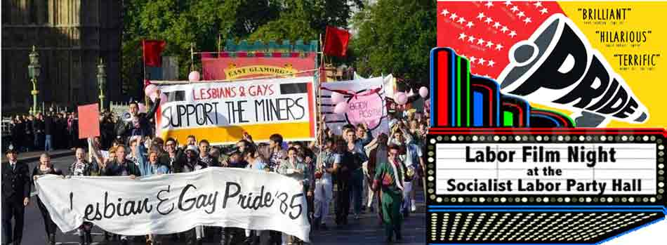 collage: pride/miners march& film poster