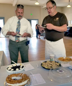 The two Tims judging the 2017 Soiree Sucree contest: Chef Tim Boltin and Chief Tim Barbardier