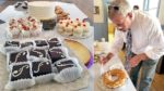 Collage of pastries ready for serving and judge cutting a contest entry