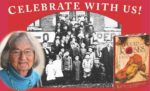Lawrence children at the Hall flanked by Katherine Paterson and book