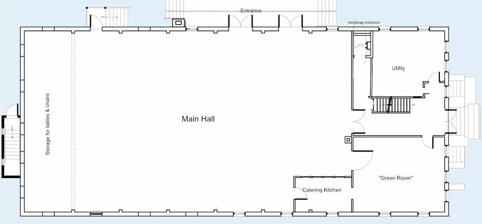 Plan of the main floor of the Hall