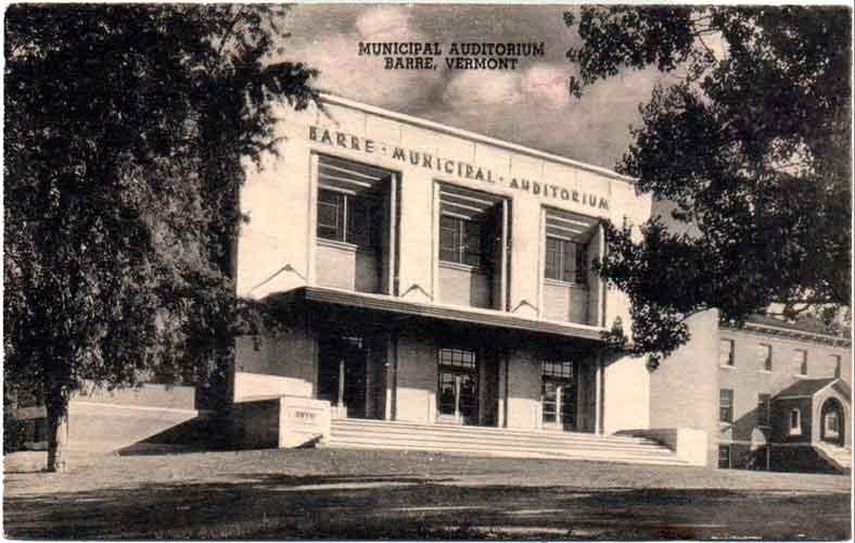 Sepia Postcard of Barre City Auditorium