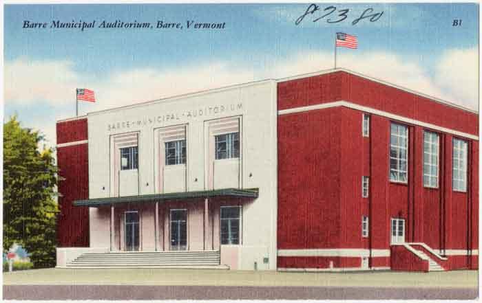 Colored postcard of Barre City Auditorium