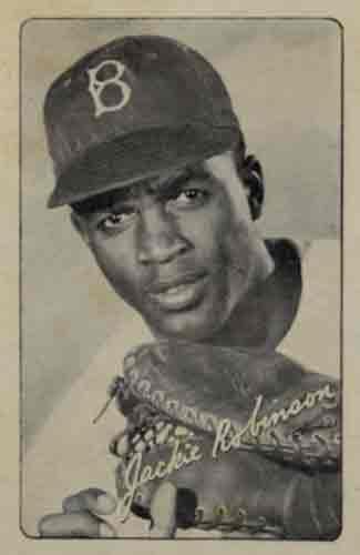 Baseball card of Jackie Robinson as a rookie