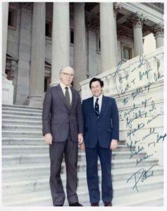Senator Patrick Leahy and Tom Davis on the Capitol steps - 1981