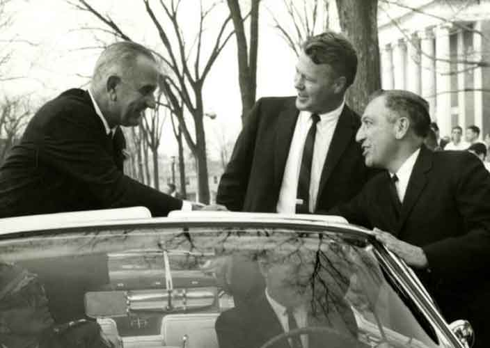 President Lyndon Johnson meeting with Governor Phil Hoff in Burlington in autumn 1963