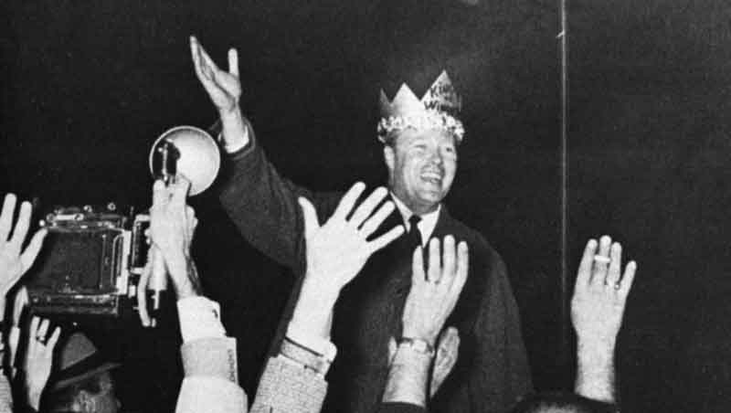 Phil Hoff celebrating his 1962 gubernatorial campaign victory in Winooski, VT