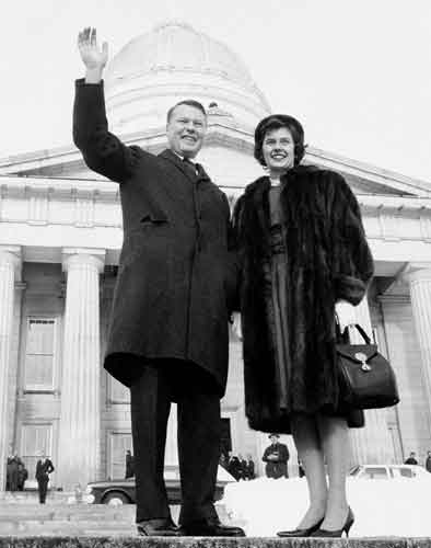 Phil and Joan Hoff in front of the SVermont State House in 1963, as he became governor