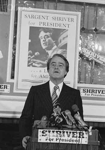Sargent Shriver campaigning for president, in New Hamshire 1976
