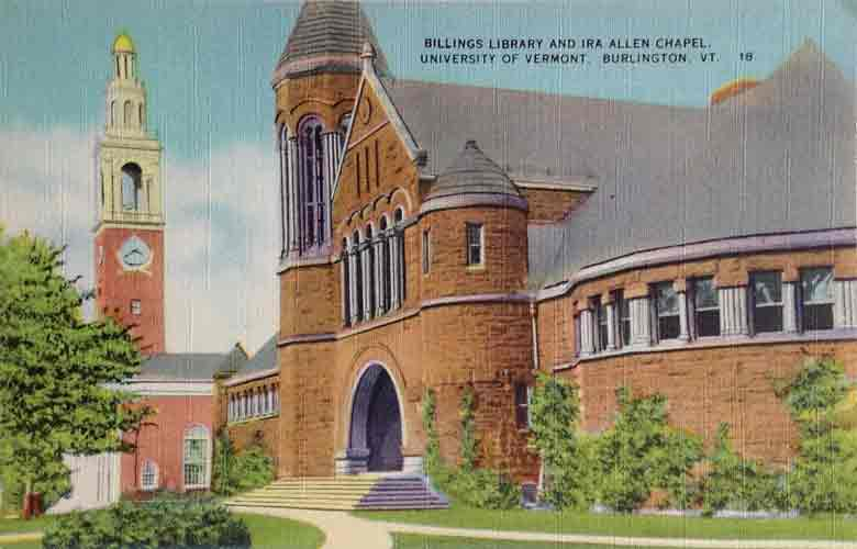 Postcard showing the University of Vermont library and Ethan Allen Chapel in the 1940s