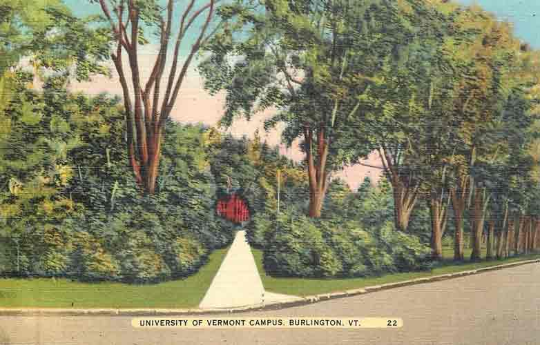 Postcard of University of Vermont campus from the 1940s