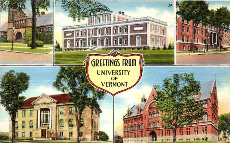 Postcard of University of Vermont buildings from 1940s