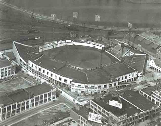 aerial photo of Braves Field in Boston