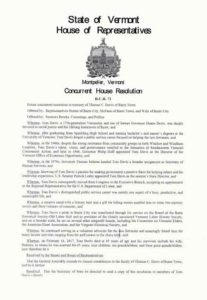 Image of General Assembly Resolution in honor of Tom Davis